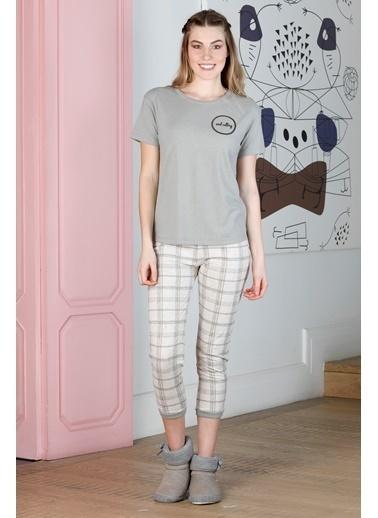 Hays Kadın Ekose Midi Pijama Takımı Gri